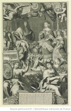 """Philippe d'Orleans, Monsieur (1640-1701) left of King's throne, and Henriette of England, d'Orleans (1644-70), right of Queen's throne, in """"La Renommée, pour / causer une joye vniverselle, / porte par toute la Terre, La Nou- / uelle de la Conualescence de / Monseigneur le Dauphin"""", 1670, French school"""