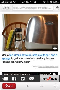 Clean stainless steel appliances with cream of Tatar and water. This just did amazing things to my grimy toaster oven. KB