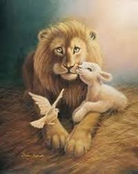 Lion of Judah, lamb and Holy Spirit Dove prophetic art painting.