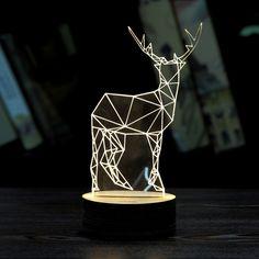 3D LED Lamp Xmas Deer Unique Lighting Effects Optical Illusion Decor Table Lamp…