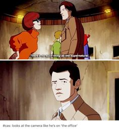 Because it's Misha Collins breaking the fourth wall