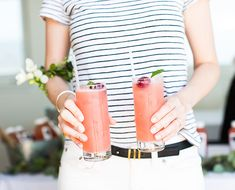 This uber-refreshing rum cocktail uses our new favorite watermelon-cherry juice blend as a healthy but flavorful base. Trust us, you'll want this recipe. Fancy Drinks, Pink Drinks, Summer Cocktails, Chalkboard Mag, Watermelon Mint, Cocktail Ingredients, Live In Style, Cherry Tart, Cocktail Making