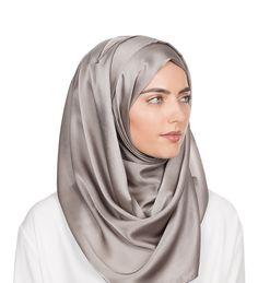 Silver Light Silk Satin Hijab -  Inayah, Islamic Clothing & Fashion, Abayas, Jilbabs, Hijabs, Jalabiyas & Hijab Pins