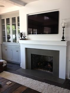 Fireplaces – transitional – living room – orange county – by Hart Concrete Desig… – Fireplace tile ideas Slate Fireplace Surround, Grey Fireplace, Family Room Fireplace, Simple Fireplace, Fireplace Bookshelves, Fireplace Hearth, Modern Fireplace, Fireplace Surrounds, Fireplace Design