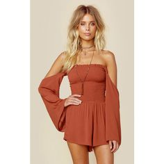 The Blue Life Smocking Romper features off the shoulder neckline with long sleeves and smocked bodice for a perfect fit. The short flounce shorts add the perfect flirty touch. Made in USADry Clean On Boho Fashion, Fashion Outfits, Womens Fashion, Fashion Trends, Fashion News, Boho Romper, Red Playsuit, Ruffle Romper, Summer Outfits