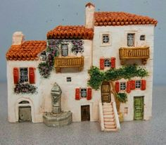 Clay Houses, Ceramic Houses, Miniature Houses, Home Crafts, Diy And Crafts, Clay Projects, Projects To Try, Garden Nook, Pottery Houses