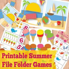 Free Printable Summer File Folder Games - There are quite a few different games, from color sorting through pattern sequence to shape matching.  As most kids spend the summer at home and learning isn't really a priority I do think it's smart to keep their brains busy here and there and if it's done through play even better!   Hope your kids will enjoy these activities!