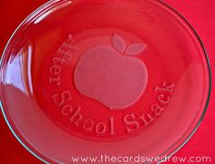 After School Snack Etched Glass plate with thecardswedrew.com
