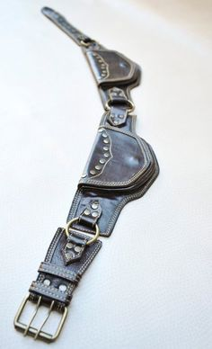 Burning Man Leather Utility Belt with pockets for your on by ELLKO Leather Utility Belt, Leather Belt Bag, Leather Tooling, Leather Men, Leather Jackets, Pink Leather, Holster, Burning Man, Belt Pouch