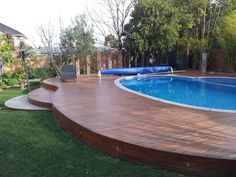 Unusual Curved deck around a pool