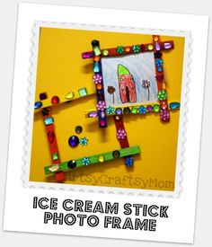 Ice cream stick Magnetic photo frame - a gift for mom :)