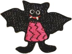 "Amazon.com: [Single Count] Custom and Unique (2"" x 2 1/2"" Inch) ""Halloween"" Cute Trick Or Treating Child Smiling Vampire Bat Design Iron On Embroidered Applique Patch {Black, Red & White Colored}"