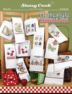 """Homestyle Potholders & Towel - Models shown stitched on Showcase Huck Towels, Banded Huck towels, Huck Dec Towels, and Kitchen Mate Potholders by Charles Craft. All designs used DMC floss and some also require DMC Color Variations. Designs include """"An Apple a Day"""", """"Leaves and Ferns"""", """"Cheery Cherries"""", """"Veggies"""", """"Friendship & Coffee"""", and """"Butterflies & Dragonflies""""."""