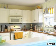 Kitchen yellow walls white cabinets butcher blocks Ideas for 2019 Ikea Butcher Block, Butcher Block Countertops, Clean Kitchen Cabinets, White Cabinets, Cupboards, Kitchen Backsplash, Yellow Kitchen Accents, Yellow Accents, Yellow Walls