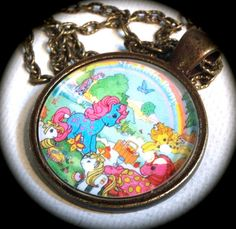 TWICE As Fancy PONIES . Glass Pendant Necklace .  by girlgamegeek, $11.11