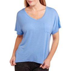 I. Appel Women's Dreamy Oversized Short Sleeve V-Neck Knit Sleep Tee, Size: Large, Blue