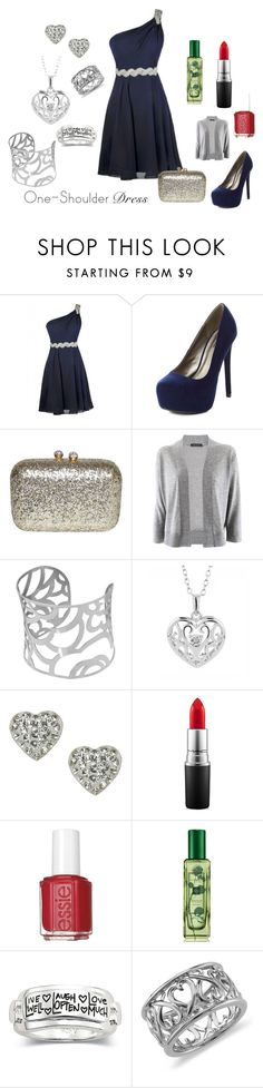 """Party Season"" by erinavalin ❤ liked on Polyvore featuring Charlotte Russe, Strenesse, Reeds Jewelers, Accessorize, MAC Cosmetics, Essie, Jo Malone, Blue Nile and OneShoulderDress"