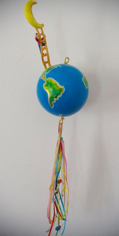 mobile papier mache mobile globe mobile room by whaleyoumarryme Marry Me, Whale, Globe, Crafting, Room Decor, Handmade, Stuff To Buy, Color, Paper