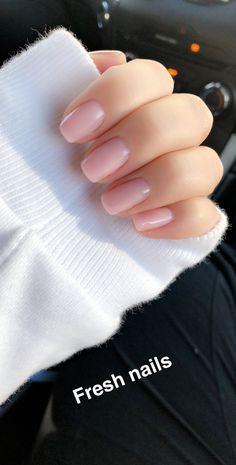 Nude pink shellac nails