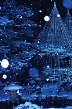 Blue lighting at Kenroku-en Garden in winter, Kanazawa, Ishikawa, Japan