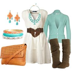 Who would have thought orange and teal looked so good together? Change out the boots for some cute summer flats/sandals and this is so beachy cute