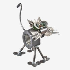 Handcrafted in Kentucky, this lovable Chubby Nut the Cat is made using scrap, reject, and other metals, and features a fat nut for the body and colored glass marble eyes. Made in the USA. Dimensions: