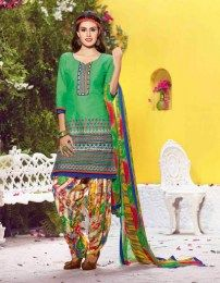 Elegant Green Color Evergreen Patiala Suit With Embroidery Work