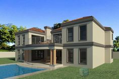 Beautiful 5 Bedroom House Plans With Photos NethouseplansNethouseplans 6 Bedroom House Plans, 4 Bedroom House Designs, Garage House Plans, Double Storey House Plans, Built In Braai, House Plans South Africa, Modern House Floor Plans, Bali House, Architectural House Plans