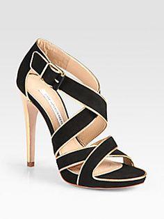Diane von Furstenberg - Strappy Suede and Metallic Leather Platform Sandals