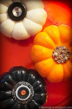 Cute and sparkly button pumpkins