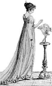 Woman wearing a chemise dress and thin bandeau, and contemplating a hat. Regency Dress, Regency Era, Historical Costume, Historical Clothing, Historical Dress, Rey George, European Wedding Dresses, Chemise Dress, Floral Gown