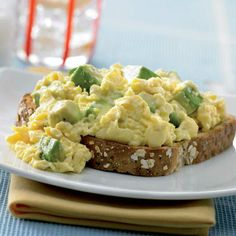 28. Avocado Scrambled Eggs  Ingredients: 2 avocados 8 eggs Milk Olive oil Salt and pepper  Method 1. Beat 8 eggs, 1/2 cup milk, salt and pepper in a bowl  2. Put 3 tbsp light olive oil in a large non-stick frying pan  3. Heat on medium heat  4. Add the egg mixture and stir gently until starting to set  5. Stir through 2 thickly sliced avocados