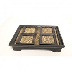 Teak Wood Tray Set with 4x Coasters