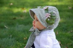 Romantic Baby Bonnet w/Removable Snood by norabeesbonnets on Etsy Baby Girl Dresses Diy, Baby Girl Hats, Little Girl Dresses, Baby Dress, Crochet Doll Clothes, Knitted Dolls, Baby Bonnets, Cute Hats, Crochet Baby Hats