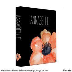 Watercolor Flower Salmon Peach 3 Ring Binder Sept 21 2017 - #zazzle #junkydotcom #gifts