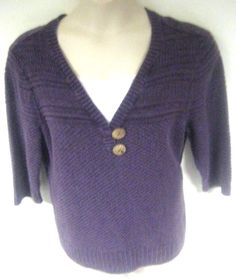 CJ Banks Women's Purple Shirt Knit Top 3/4 Sleeve Plus Size 1X V Neck #CJBanks #KnitTop #Casual