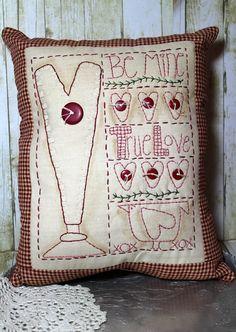Handmade Primitive Valentine Heart Sampler Pillow