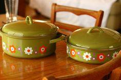 Vintage Pot and Pan Set of Four Retro Kitchen by vintageatmosphere, $34.99
