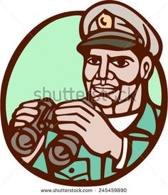 Illustration of a navy admiral officer holding binoculars set inside circle on isolated background done in woodcut linocut style. Veterans Day, Binoculars, Royalty Free Stock Photos, Illustration, Pictures, Image, Style, Photos