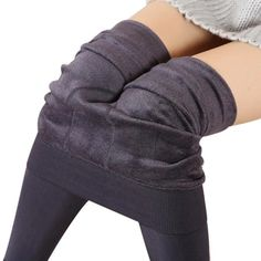 VOGUE CODE Girl Warm Fleece Layer Solid Bottom Lace Skinny Leggings