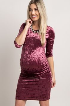 This maternity dress features all the details we are in love with! With a gorgeous crushed velvet material and fitted style, you'll turn heads wherever you go as you as you put on this stunning maternity dress. Look and feel amazing by styling this dress with chic booties and a choker necklace for an ensemble you can make a statement in this season.