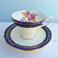 Vintage Aynsley Cream and Navy Floral Tea Cup and Saucer