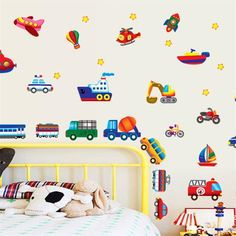 2.97$  Know more - DIY Wall sticker Large children's bedroom wallpaper cartoon car wall decal Home decoration For Kid's Room Decoration   #shopstyle