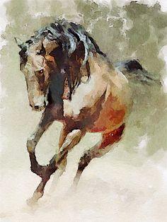 Horse 003, via Flickr. Bay horse art  | caballo de bahía
