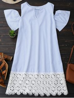 Summer No Striped Short Round Mini A-Line Causal Casual Cold Shoulder Lace Striped Dress Dress Outfits, Casual Dresses, Short Dresses, Fashion Dresses, Little Dresses, Girls Dresses, Summer Dresses, Breastfeeding Dress, Striped Dress