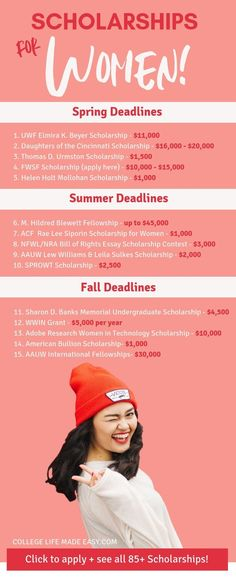 Over 85 CURRENT scholarships for women compiled into one handy list! These are s… Over 85 CURRENT scholarships for women compiled into one handy list! These are scholarships for girls, mothers and all females who need money for college in Grants For College, College Costs, Financial Aid For College, College Planning, Online College, Education College, College Tips, College Checklist, Education Degree