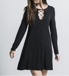 Dress with crossover neckline