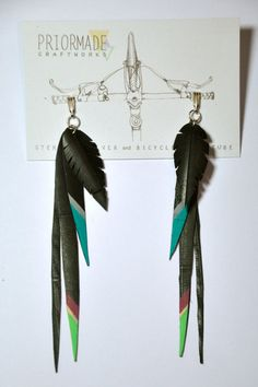 Feather Inner tube / tyre earrings on sterling silver (large)