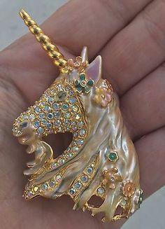 Kirks-Folly-Unicorn-Ophelia-Pin-Brooch-Gold-Tone