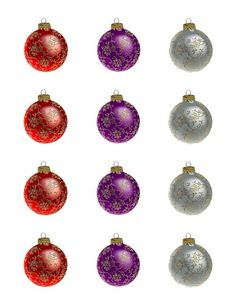 Glitter Christmas Ornament Edible Cupcake & Cookie Toppers | My Party Helpers | http://mypartyhelpers.com/products/24-glitter-christmas-ornament-edible-cupcake-toppers